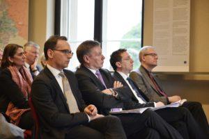 Minister Maas, die Professoren Görtemaker, Safferling und Wirsching (IfZ München) - von links Fot BMJV/Habig